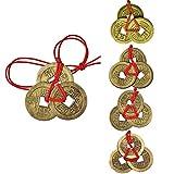Rmeet Monedas de Chinas,1 Pulgada Monedas Feng Shui 5 Set China Monedas de Fortuna Antiguas Magia Monedas de I-Ching Suerte Cobre para Salud Éxito Riqueza Evitar
