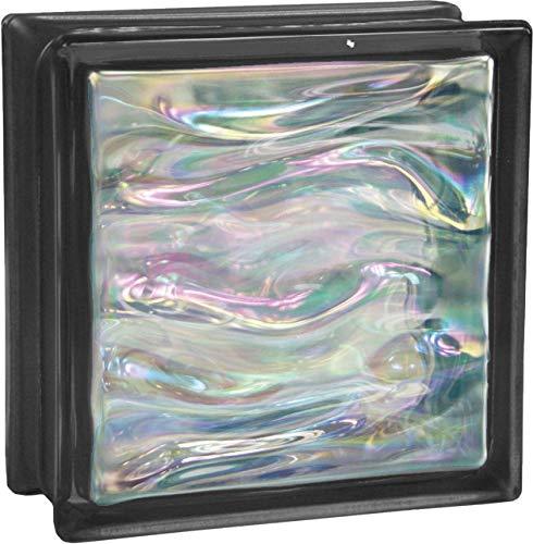 6 pieza BM bloques de vidrio AGUA perla negro bloque de vidrio brillante 19x19x8 cm
