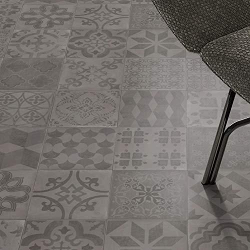 PVC Bodenbelag Almeria Smoke Fliese Grau mit Textilrücken (Muster DIN A4)