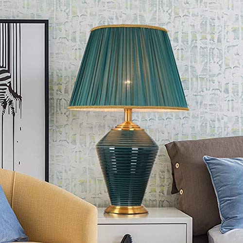 zxb-shop Bedside Lamps Modern Table Lamp Ceramic White Fabric Shade For Living Room Family Bedroom Bedside Lamp Home Lighting Bedside Desk Lamp (Color : Power switch button)