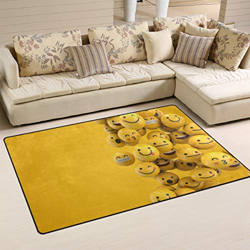 iRoad - Alfombra para sala de estar, diseño de emoticono de dibujos animados, multicolor, 60x39 in