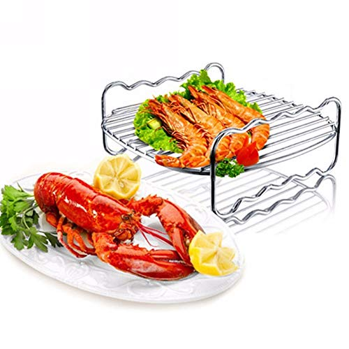 Dubbele laag RVS Vervangende BBQ Rack Skewers Bakplaat voor Air Fryer Barbecue Rack Bakplaat BBQ Rack