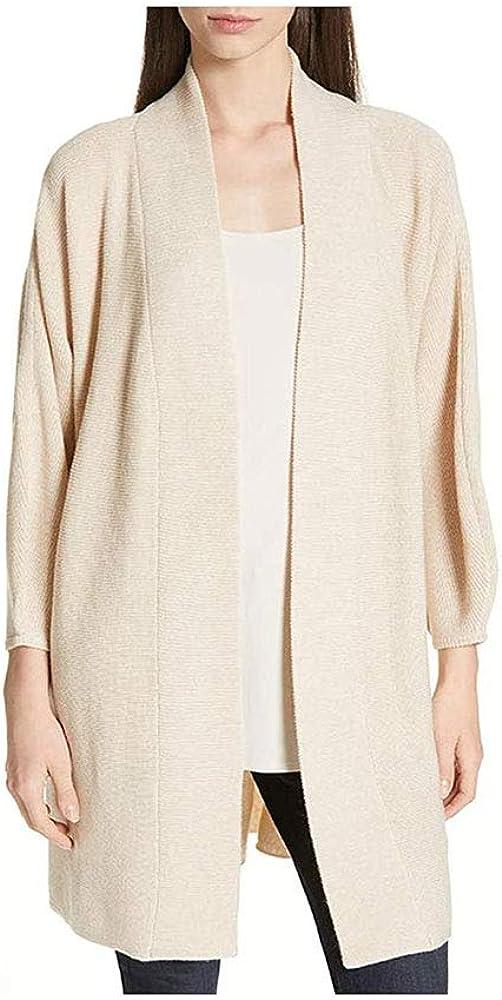 Eileen Fisher Cashew Merino Wool Long Cardigan Medium