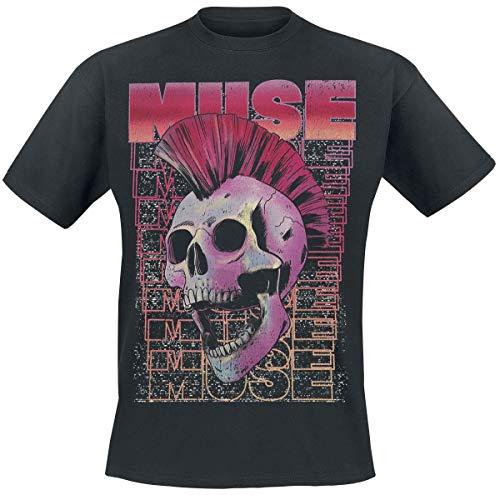 Muse Mohawk Skull Hombre Camiseta Negro M, 100% algodón, Regular