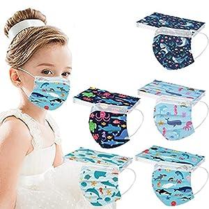 YpingLonk Bambino 50 Pezzi Viso Protezione 3-ply USA e Getta Traspirante Antipolvere Tessuto A Prova di Vento Cotone Comfort Stampa di Stelle Protezione per Il Viso per Ragazzi Maschi