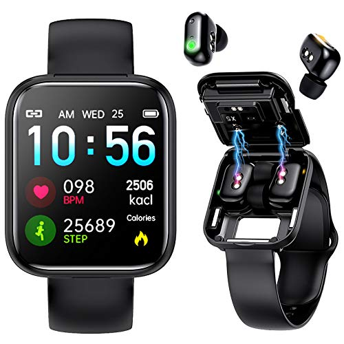 Interepro Smart Watch with Bluebooth Earbuds,TWS Wireless Earphones Fitness Tracker Watch 2 in 1,Waterproof Sports Bracelet with Sleep Music Heart Rate Monitor Calorie Step Counter (Black)