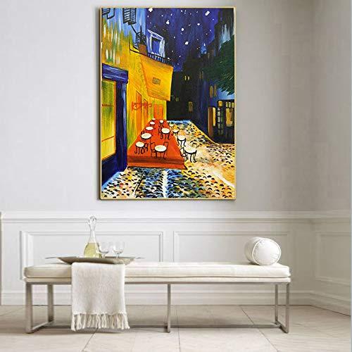 Berühmte Van Gogh Cafe Terrasse bei Nacht Ölgemälde Reproduktionen auf Leinwand Poster und Drucke Wandkunst Bild für Wohnzimmer (ohne Rahmen) 60x90CM