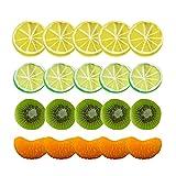 liangzai 20pcs / Set Artificial Fruta simulación de limón rodajas Kiwi Navidad Fruta Ornamento Cocina Boda Falsa decoración de limón Suministros Hilarity (Color : 20Pcs)