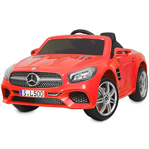 Uenjoy 12V Licensed Mercedes-Benz SL500 Kids Ride On Car Electric Car Motorized Vehicles for Kids, Remote Control, Music, Horn, Spring Suspension, Safety Lock, Red