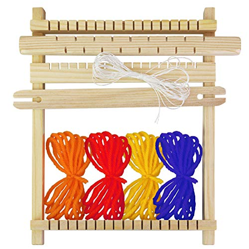BUZIFU Bambini Tessitura Telaio, Kit Telaio per Tessitura in Legno, 9 Pezzi Telaio da Tessitura per Imparare a Tessere Telaio in Legno con Accessori, Kit Telaio per Principianti e Bambini
