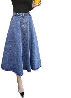 Howely Women A-Line Denim Expandable-Waist High Waist Pleated Button Down Skirt