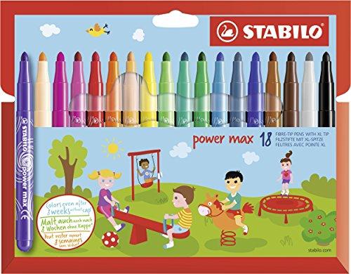 Feutre de coloriage - STABILO power max - Étui carton x 18 feutres pointe large - Coloris assortis