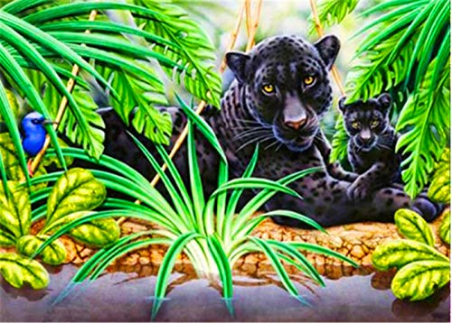 5D Diamant Schilderij Bos Zwarte Panter Dier DIY Interieur Decoratie Schilderij 70x100cm Vierkante Diamant