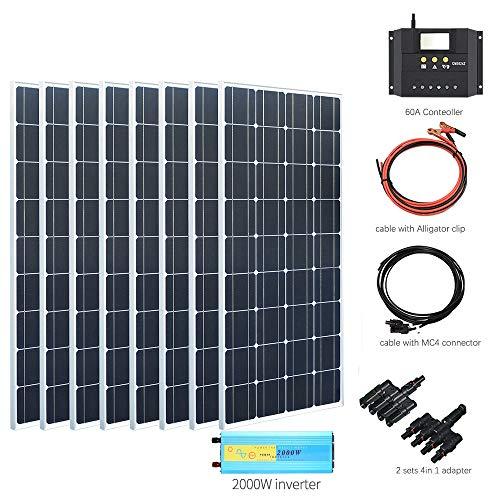 YUANFENGPOWER Kit de panel solar de 800 vatios Celda de silicio monocristalino Controlador solar 60A Inversor de 2000 vatios para casa rodante Techo camper Cargador de 12 V