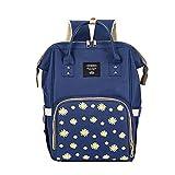 Alicest pequeño crisantemo bolsa para mamá bolsa para madre y bebé mochila multifuncional de gran capacidad puede colgar cochecito-azul marino