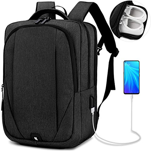 NEWHEY Mochila para portátil para hombre de 15,6 pulgadas con puerto de carga USB para portátil, mochila escolar resistente al agua, mochila de negocios para hombre, color negro