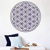 Etiqueta de la pared vinilo removible etiqueta de la pared flor de la vida semilla Art Deco pegatina geometría sagrada Mural 60X60Cm