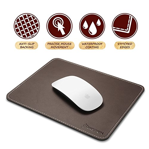 Insten Premium Leather Mouse Pad with Waterproof Coating, Non Slip & Elegant Stitched Edges, Brown