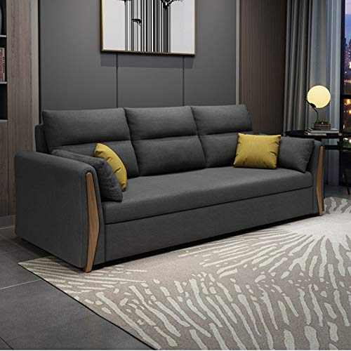SND-A Modern Sofa Couch Bed, Multifunctional Folding Loveseat Sleeper Pull Out Futon Couch,Soft Fabric Sleeper Sofa Convertible Bed Furniture for Living Room Apartment,Washable,Gray,1.44M