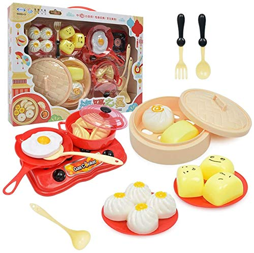 OOPP Chinese Food Cook Set Kids Toys,18 PCS Cartoon Mini Children Chef kitchen Kits,Cooking Education Gifts,Children Early Educational Toys Set