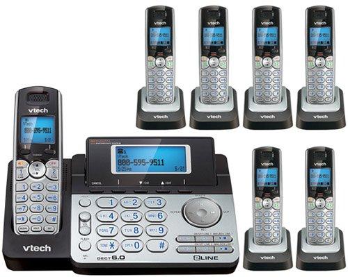Vtech DS6151 Base with 6 Additional DS6101 Cordless Handsets Bundle