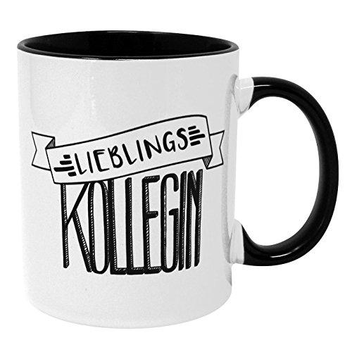 Close Up Lieblingskollegin Tasse - weißer Kaffeebecher aus Keramik, Henkel und Innenseite schwarz - Geschenk für Kolleginnen & Mitarbeiterinnen | Premium Becher