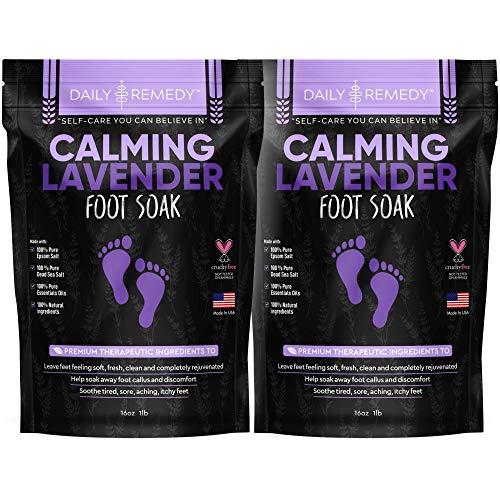 Calming Lavender Foot Soak with Epsom Salt - 2 PACK - Antifungal Foot Soak Soothes Sore Tired Feet, Athletes Foot & Remove Foot Odor. Best Foot Spa Pedicure Set