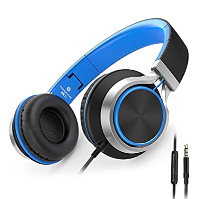 AILIHEN C8 Foldable Headphones with Microphone and Volume Control Lightweight Stereo Headsets for iPad 3.5mm Android Cellphones Smartphones Laptop Computer Mp3 (Black/Blue) from AILIHEN
