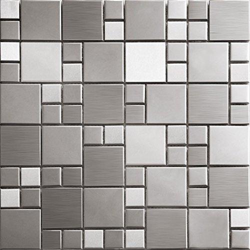 Superficie Irregolare 3D Art Deco metallo mosaico acciaio inossidabile Mosaico modello muro 300*300mm--Cucina Backsplash/Parete da bagno/decorazione domestica(SA073) (1 tappetini (300*300mm), SA073-4)
