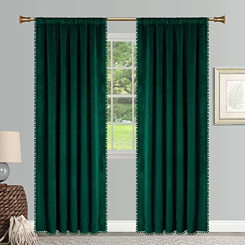 SNITIE Pom Pom Velvet Curtains with Rod Pocket Thermal Insualted Soft Privacy Light Filtering Velvet Drapes for Bedroom and Living Room, Set of 2 Panels ( Emerald Green, 42 x 84 Inches Long )