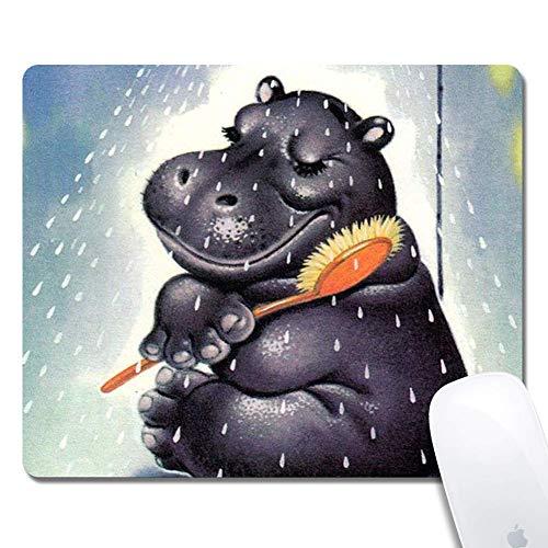 Nashorn in der Dusche Erweitertes ergonomisches Gaming-Mauspad, Rechteck-Mauspad Custom Design Gummi-Rechteck-Mauspad-Nashorn in der Dusche