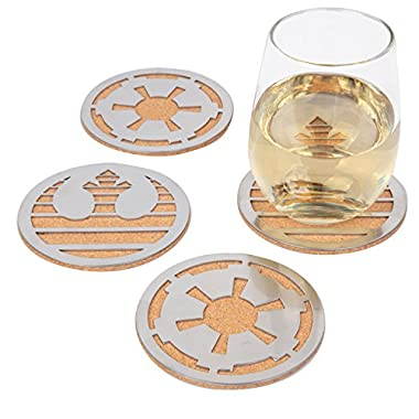 Star Wars Coasters, Set of 4 - Cork with Laser Cut Steel Rebel and Imperial Logos - 4  Round