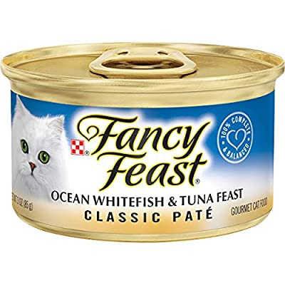 Purina Fancy Feast Grain Free Pate Wet Cat Food, Classic Pate Ocean Whitefish & Tuna Feast - (24) 3 oz. Cans