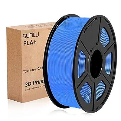 SUNLU 3D Printer Filament PLA Plus, Tangle Free PLA Plus Filament 1.75 mm, Low Odor Dimensional Accuracy +/- 0.02 mm, 3D Printing Filament,2.2 LBS (1KG) Spool for 3D Printers & 3D Pens,Blue