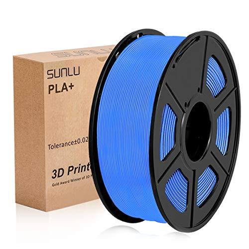 Filamento PLA Plus de la impresora SUNLU 3D, filamento PLA de 1.75 mm, filamento de impresión 3D de bajo olor, precisión dimensional +/- 0.02 mm, filamento 3D del carrete 3D, Blue PLA +