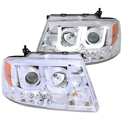 ANZO USA 111287 Projector Headlight Set w/U-Bar Halo-Chrome