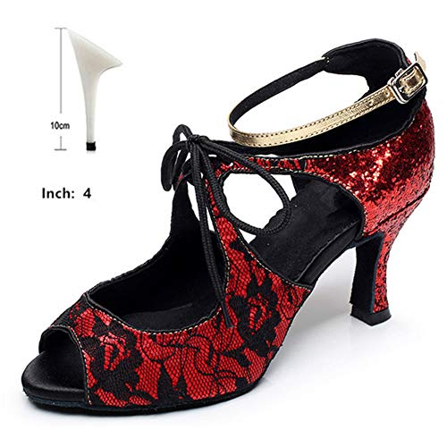 Hoapl Dames Ballroom Latein kant pailletten dansschoenen Salsa Tango Dames Party Waltz Samba Dance schoenen hak 6 cm 7,5 cm 8 cm 10 cm sandalen