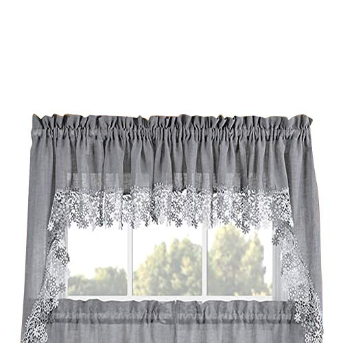 Fox Valley Traders Collections Etc Lillian Swag Valance, Gray, One Size Fits All