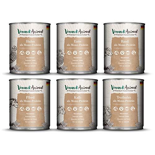 Venandi Animal Premium Nassfutter für Katzen, Probierpaket III, Huhn, Ente, Rind, Pferd, 1*Kalb, Truthahn, 6 x 800 g, getreidefrei und naturbelassen, 4.8 kg