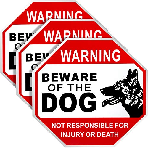 3 Pieces Beware of Dog Sign Not Responsible for Injury or Death Warning Dog Sign Aluminum Dog Sign Rust Free Weatherproof, 12 x 12 Inches