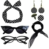 1950's Womens Costume Accessories - 50s Chiffon Scarf,Cat Eye Glasses,Bandana Tie Headband,Drop Dot Earrings (Black)