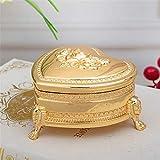 joyeros,Caja de almacenamiento de la joyería del metal, caja-oro color de rosa en forma de corazón del regalo de boda de la flor