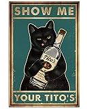 LINQWkk Retro Metal Tin Sign,Cat Show Me Your...