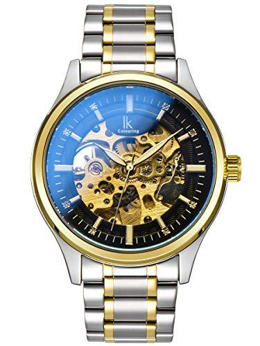 Alienwork Reloj Automático Hombre Mujer Plata Pulsera de Metal Acero Negro Esqueleto