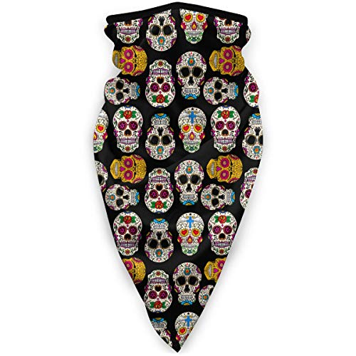 hulili Outdoor Face Mask Mexican Sugar Skulls And Roses 2 Multifunctional UV Protection Headwear for Hiking Cycling Ski Snowboard