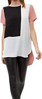 FRPE Women's Chiffon Irregular Plus Size Short Sleeve Color Block Top Blouse T-Shirt