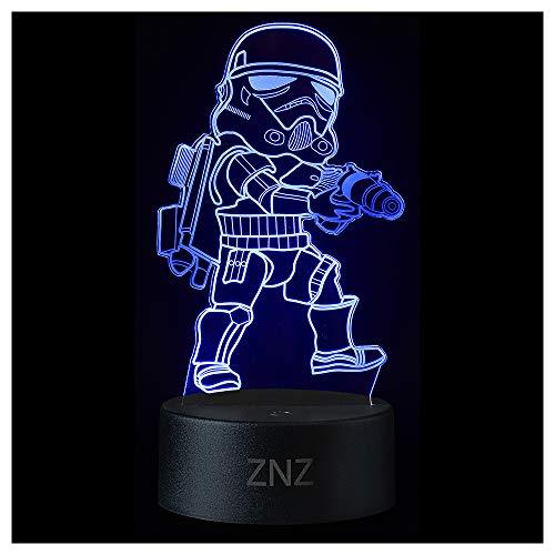 3D Star Wars Lampe, ZNZ LED Illusion Led Nachtlicht, 16 Farben Wechsel 3 Modell mit Remote & Smart Touch Dekor Lampe - Weihnachts- Star Wars Fans Geschenke für Kinder Männer Frauen (Stormtrooper)