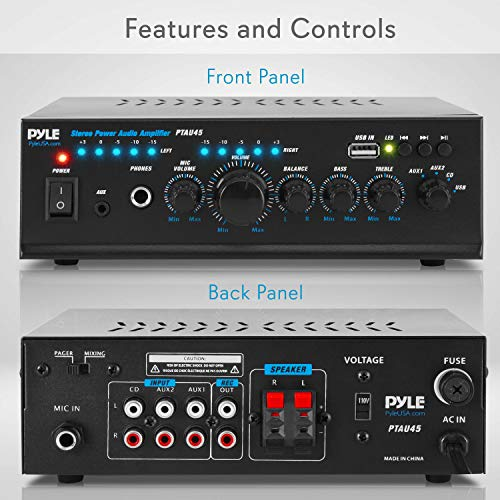 Pyle 2X120 Watt Home Audio Power Amplifier - Portable 2 Channel Surround Sound Stereo Receiver w/ USB IN - For Amplified Subwoofer Speaker, CD DVD, MP3, iPhone, Phone, Theater, PA System - PTAU45 , Black                Yamaha R-S202BL Stereo Receiver                Sony XB72 High Power Home Audio System with Bluetooth Technology (GTK-XB72) Black