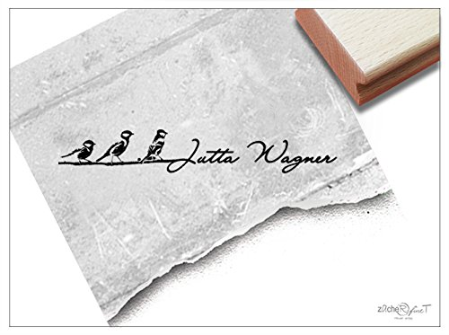 ZAcheR-fineT Stempel, persoonlijke naamstempel, vogels, handgeschreven (mogelijk niet beschikbaar in het Nederlands), ideaal voor school en beroep, elegant, mooi en tijdloos