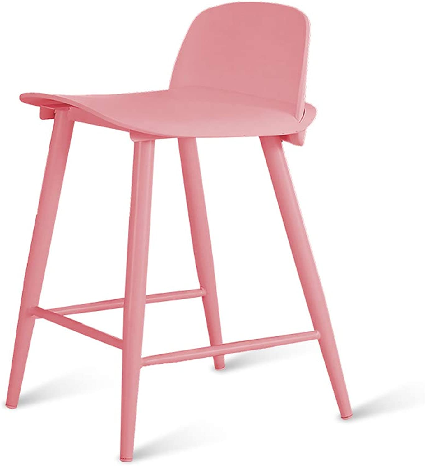 Jiu Si- Nordic Bar Chair Cafe Bar Desk Chair Back Bar Stool Bar High Stool Beauty Chair Hairdressing Chair High Stool bar Chair (color   Pink, Size   Seat Height 60)
